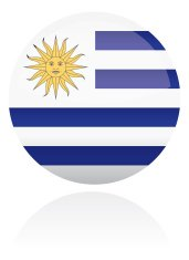 Uruguay, South American Flag Button