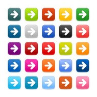 Arrow icon. 1 credits. Satin rounded square button white sign
