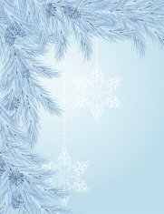 Blue Christmas Tree Branch With Snowflake Ornaments