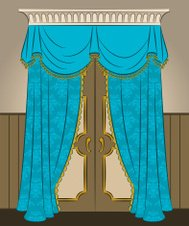 The vintage blue curtain and door. Vector