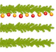 Highly detailed christmas decorated branches of fir tree.
