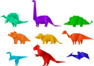 Set of Nine Color Paper Origami Dinosaur Collection vector illus