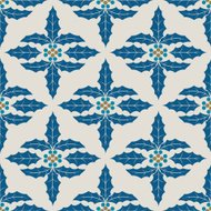 Blue Christmas Holly Pattern