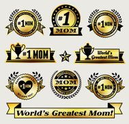 World Greatest #1 Mom gold Vector Icon badge set