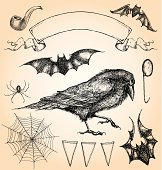 Hand Drawn, Vintage Style Halloween Vector Set II
