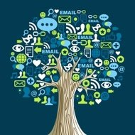 Social media concept tree illustration