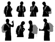 Multiple images of a man with backpack