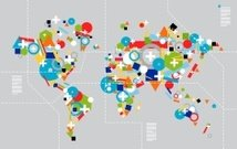Diversity in technology concept World map