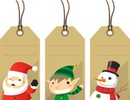 Christmas character label tags Santa Elf Snowman
