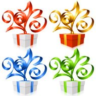 Vector gift box and ribbon in the shape of 2013