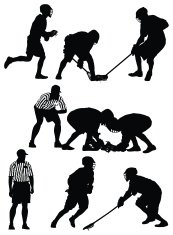 Silhouette of lacrosse players in action