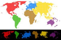 World map dotted colorful continents