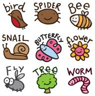 Bug and nature doodle icon set