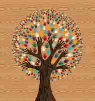 Diversity tree hands illustration