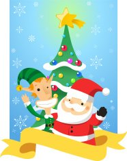 Christmas golden banner with Santa Elf and Pine tree
