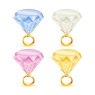 Four colors Diamond rings