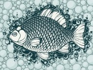 Graphic fish on the background with bubbles