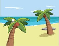 Palm Trees on Vacation Island