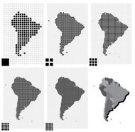 Dotted maps of South America in different resolutions