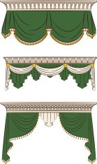The vintage green curtain. Vector set