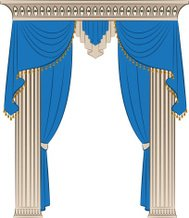 The vintage blue curtain and columns. Vector