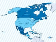 North America map blue with countries and cities