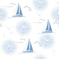 Sailboats Compass Rose Seamless Pattern