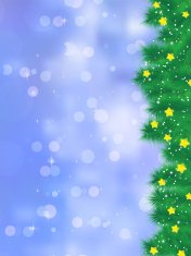 Christmas tree branch on a blue background. EPS 8