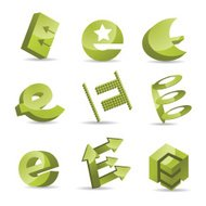 Abstract Letter E Icon Set