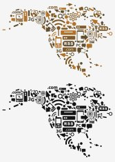 North America with communication technology icons.