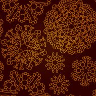 Seamless abstract dark red pattern with gold snowflakes