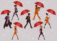 People with their umbrellas.