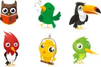 Six Cartoon full color birds set