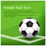 Football (soccer) ball on corner of field and text