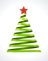 Christmas green tree and star vector design element