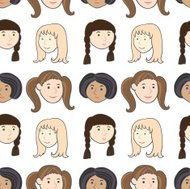 Girls smiling faces pattern