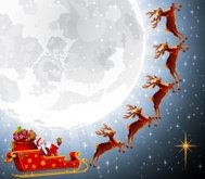 Santa Claus flying with his sleigh
