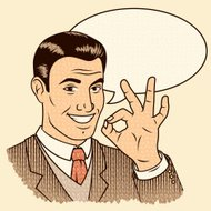 Retro Man Giving 'OK' Sign with Speech Bubble