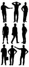 Multiple silhouette of young man