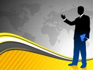 Businessman with World Map Background