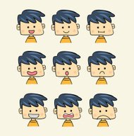 Set of faces with various emotion expressions cartoon style