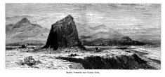 Basalt formation near Russian River, California, wood engraving
