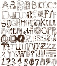 Hand drawn alphabet letters and numbers