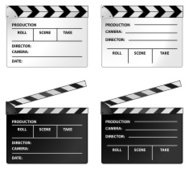 White clapper (clapperboard) and black film slate