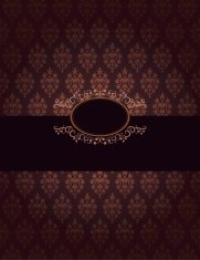 Dark Damask Pattern With Ornate Frame