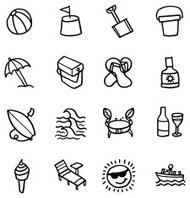 Summer and beach icon set