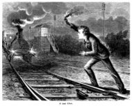 Youth attempting to stop a steam train