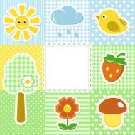 Summer frame with flower strawberry sun and bird