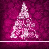 Christmas card with stylized pink glowing. EPS 8
