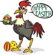 happy easter - rooster and painting eggs